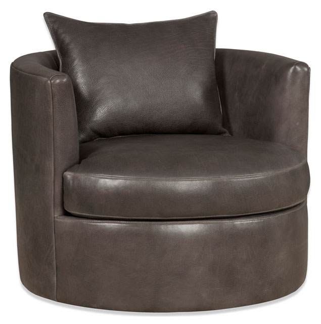 Bradington young leather swivel tub chairs for Leather swivel tub chair