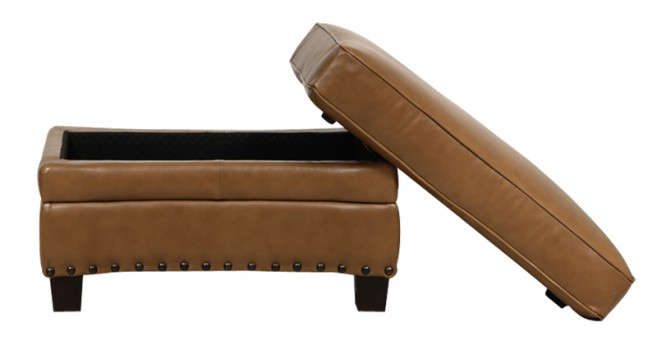 Luke Leather Furniture - Ottomans - BENNETT in Color 2552 Wheat