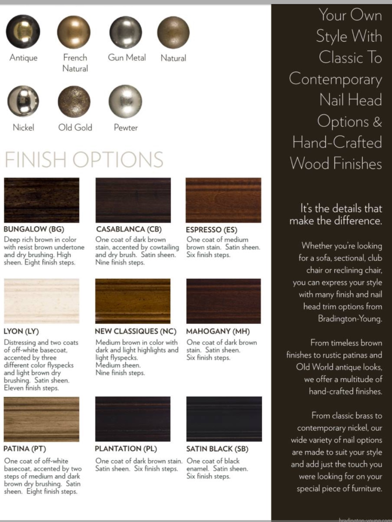 Bradington Young Leather Nail Head and Finish Options