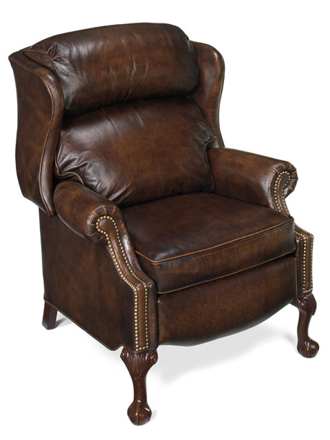 Beautiful Rooms - Leather Reclining Wing Chair Chippendale