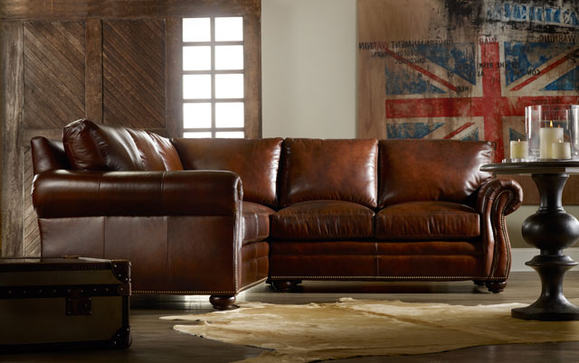 221 Bradington Young Leather Sectional Sterling