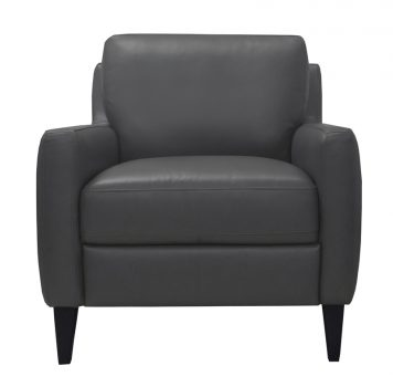 Luke Leather Furniture - Chairs - CARLO in Gun Metal Gray
